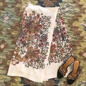 Zara Trafaluc Midi Skirt with Floral Print